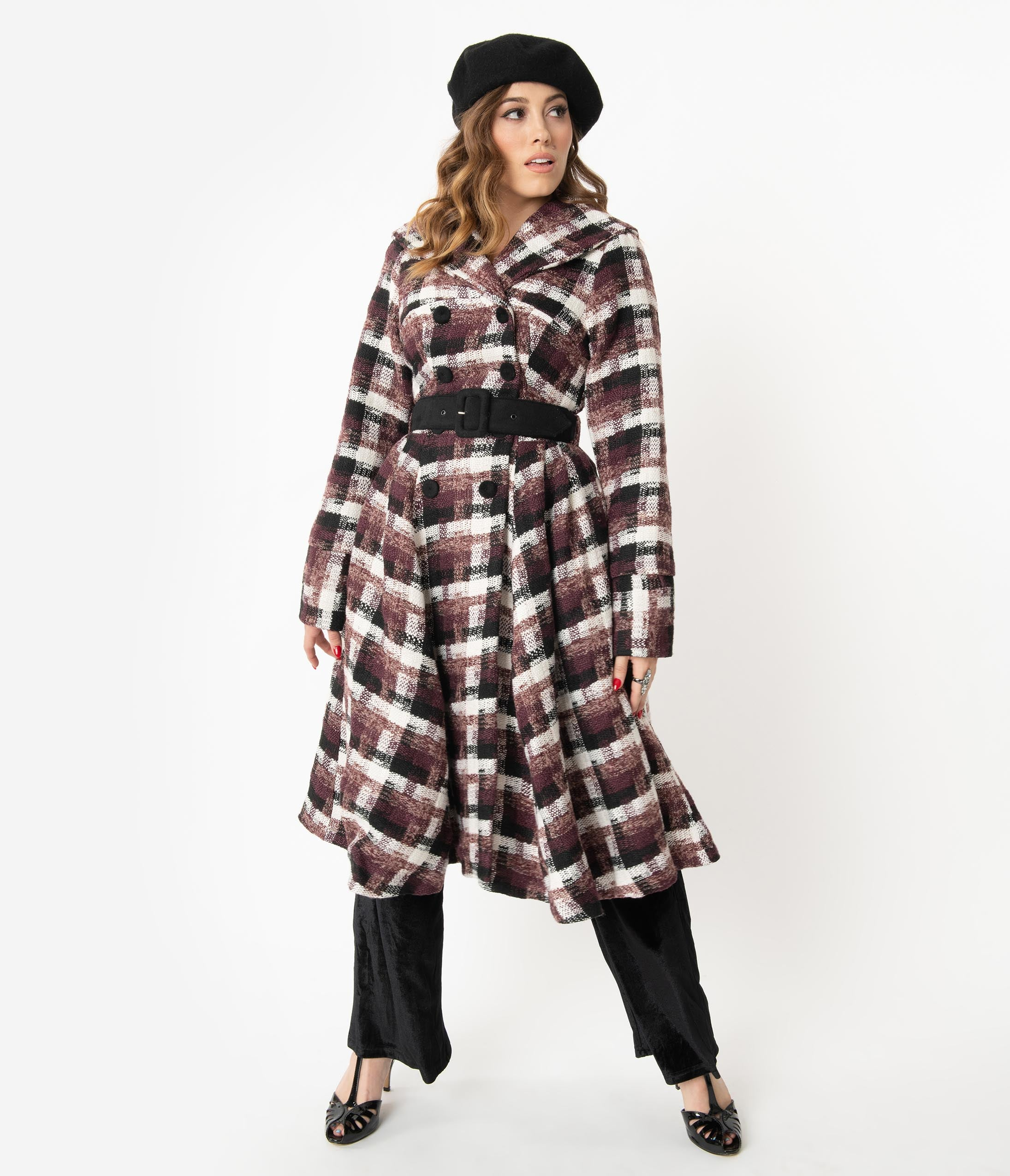 1940s Coats & Jackets Fashion History Miss Candyfloss Plaid Belted Teagan Coat $198.00 AT vintagedancer.com