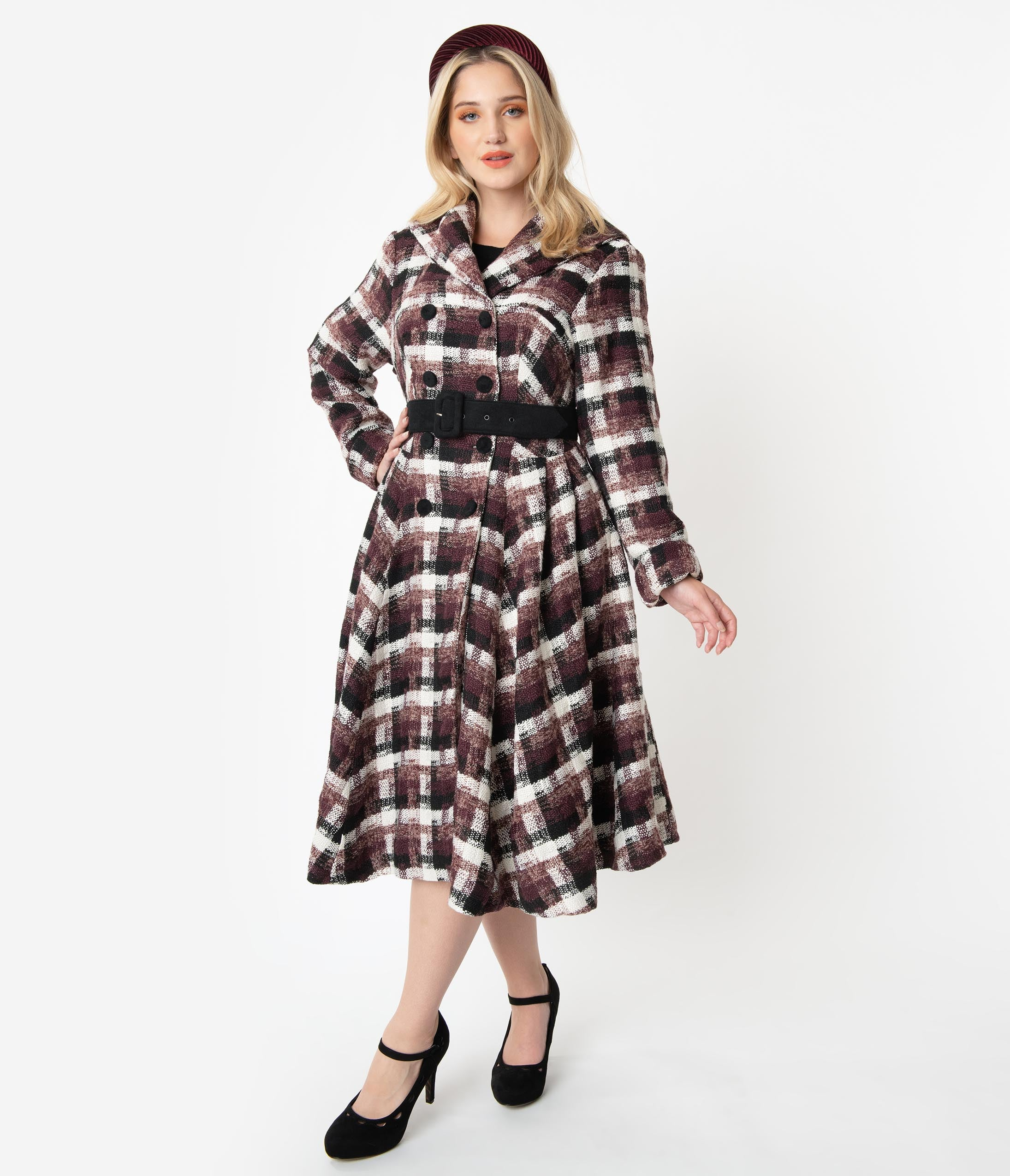 1940s Coats & Jackets Fashion History Miss Candyfloss Plus Size Plaid Belted Teagan Coat $198.00 AT vintagedancer.com