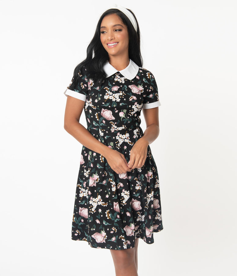 Smak Parlour Black Floral Babe Revolution Swing Dress