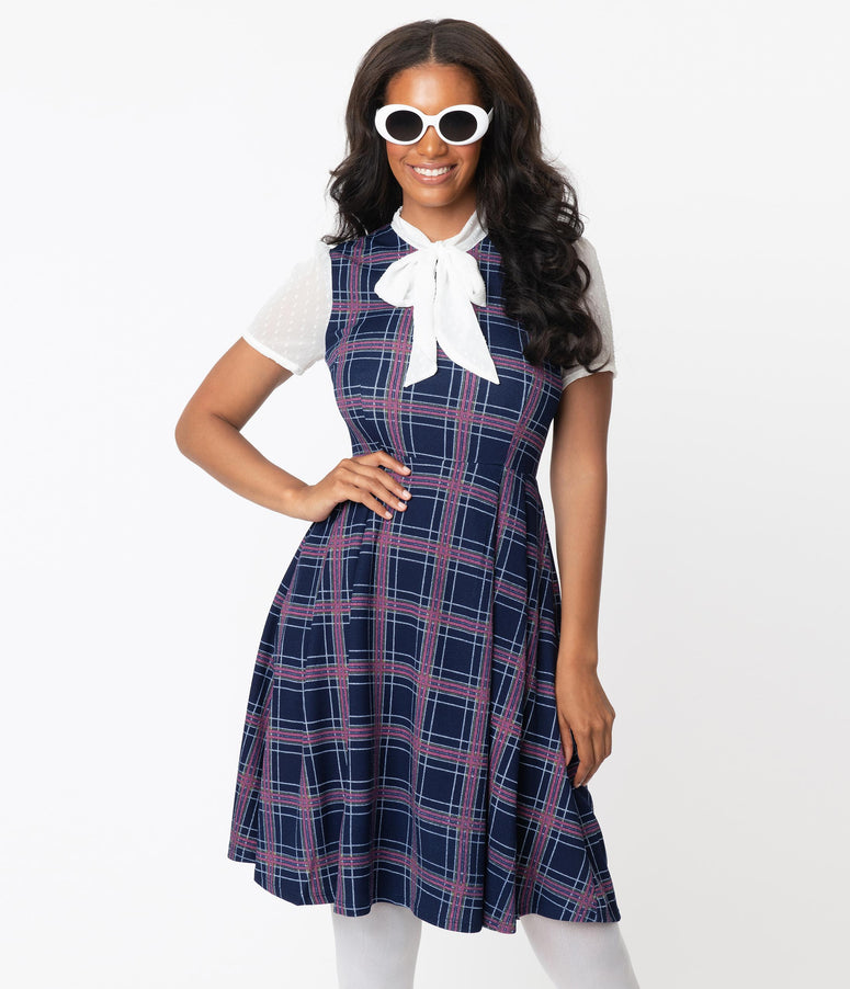Smak Parlour Navy Blue Plaid Empower Hour Swing Dress
