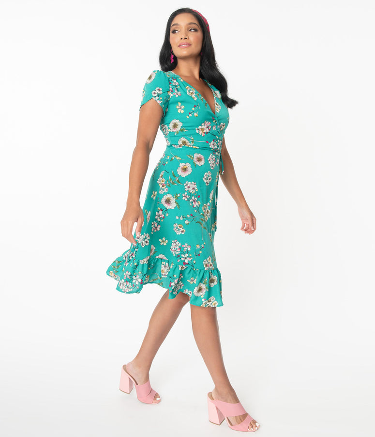 Smak Parlour Teal Floral Hide And Go Chic Midi Dress