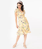 Smak Parlour Yellow & Ivory Floral Print Hide And Go Chic Midi Dress