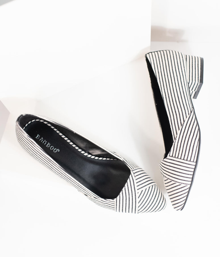 Retro Style Black & White Stripe Pointed Toe Low Heel Flats