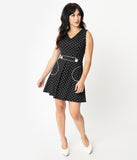 Smak Parlour 1970s Black & White Pin Dot Totally Radical Fit & Flare Dress