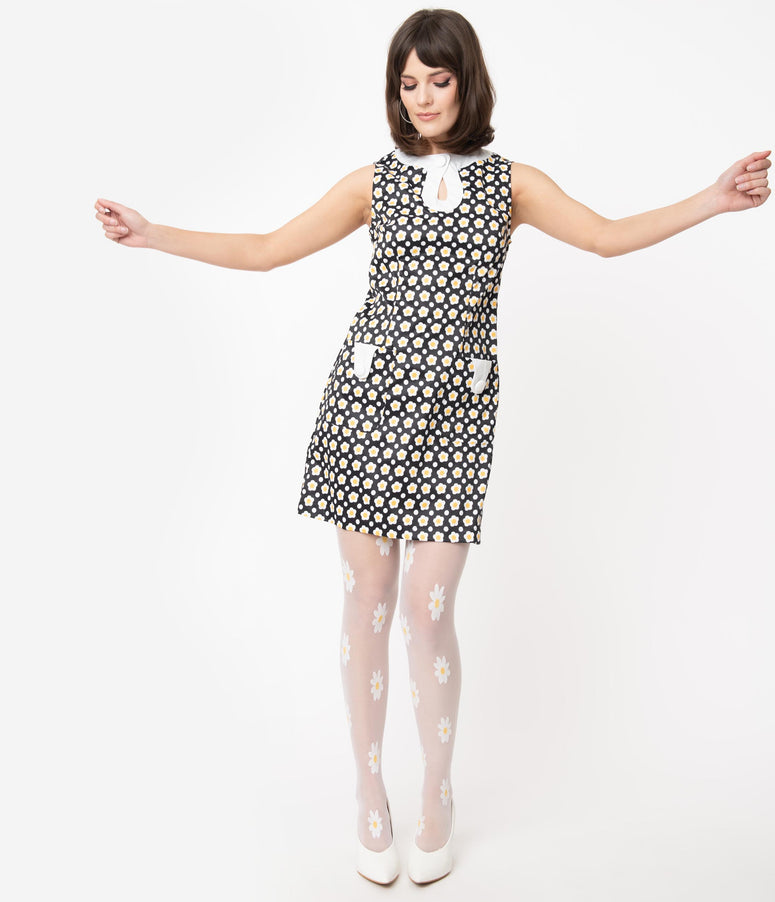 Smak Parlour 1960s Black Daisy Print Mod Dress