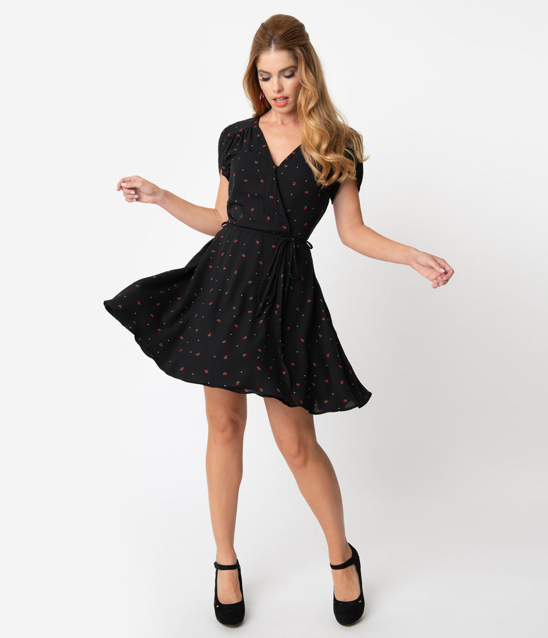 Smak Parlour Black Floral & Pin Dot Print Pretty Woke Flare Dress