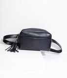 Retro Style Black Leatherette Fanny Pack