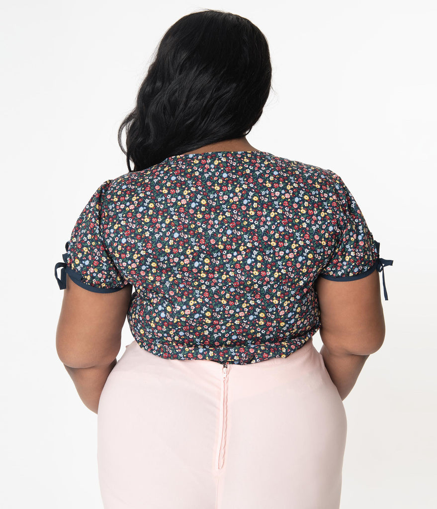Unique Vintage Plus Size Multicolor Floral Garden Elaine Blouse