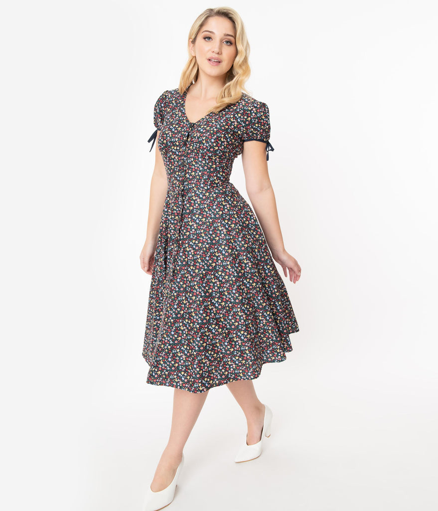 Unique Vintage Multicolor Floral Garden Print Dora Swing Dress