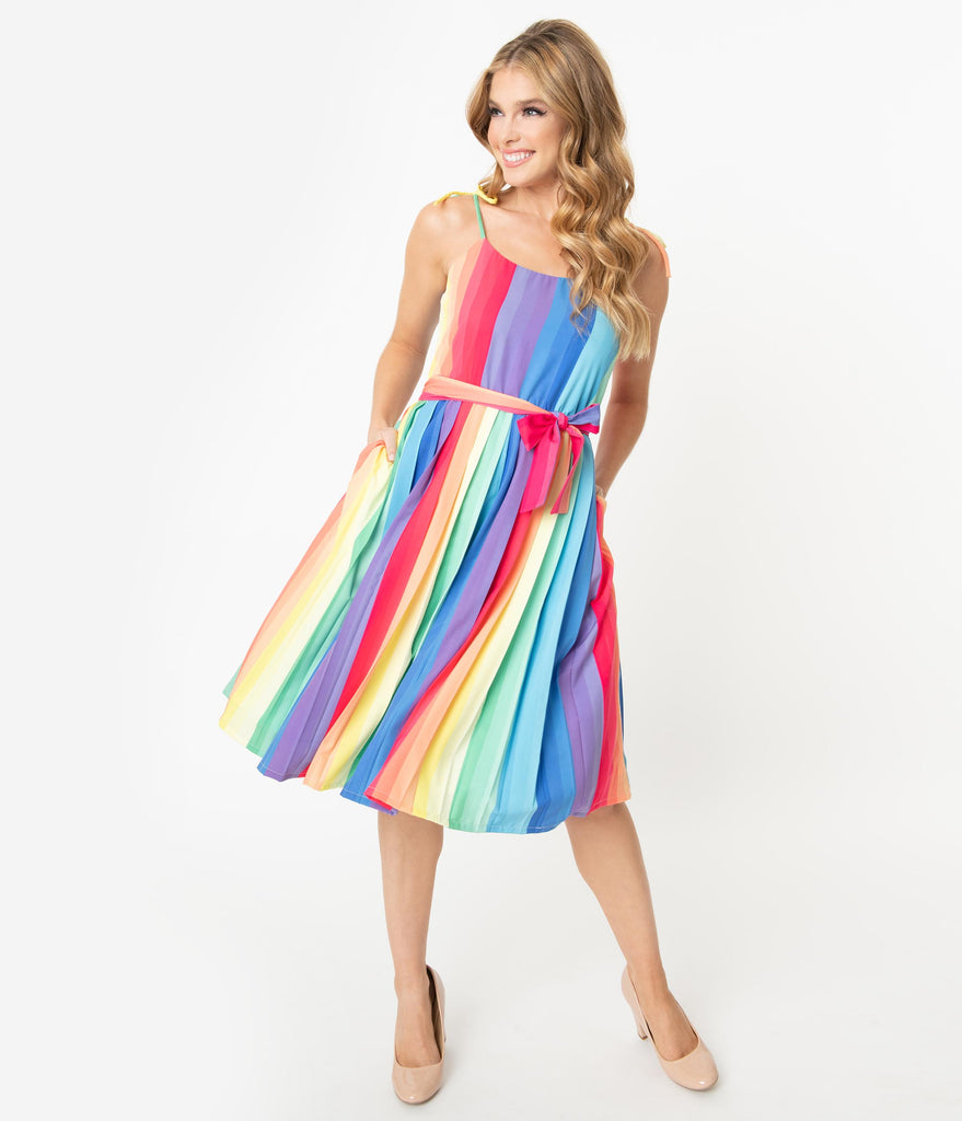 Unique Vintage 1950s Style Rainbow Maddy Swing Dress