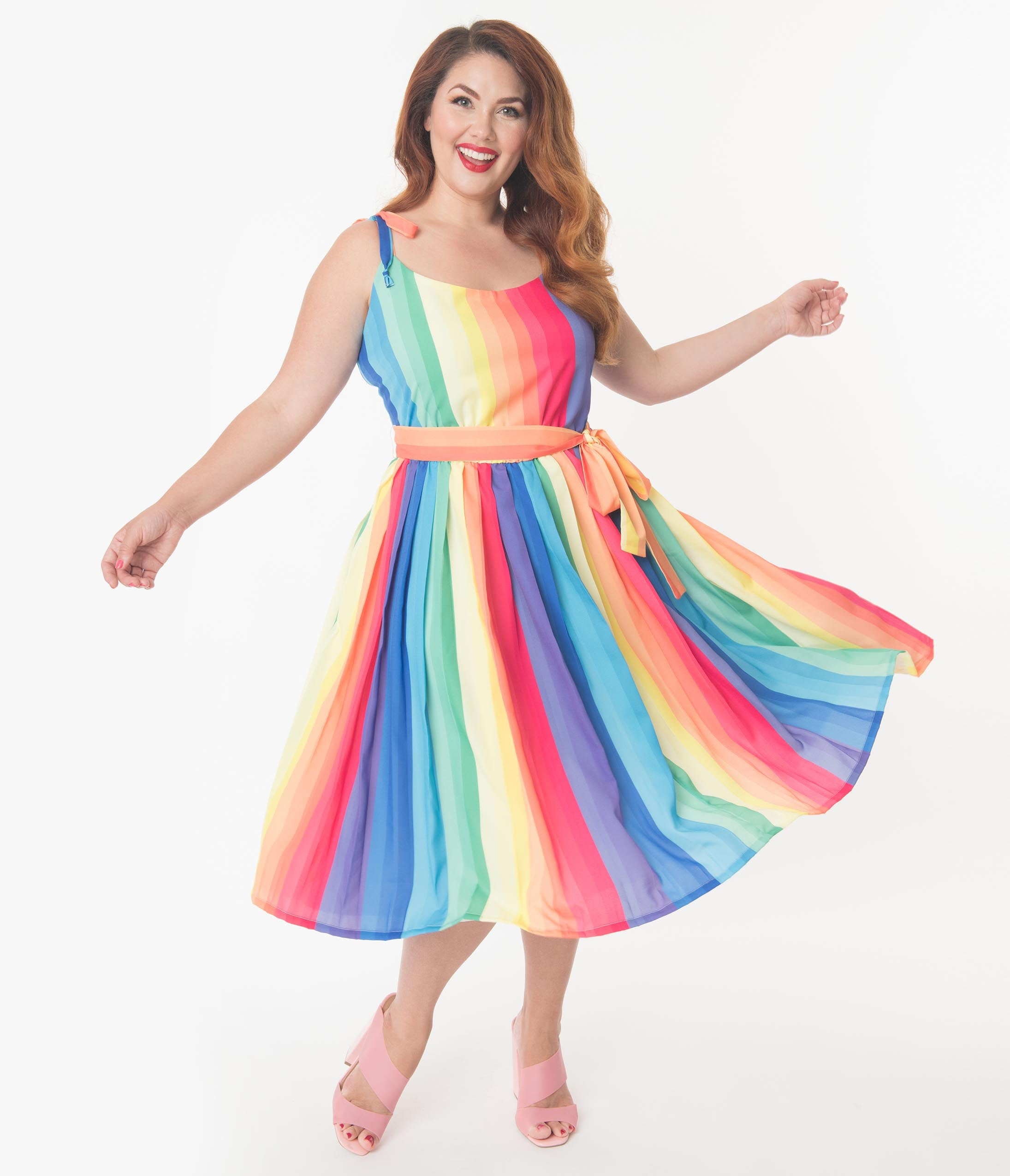1950s Plus Size Dresses, Swing Dresses Unique Vintage Plus Size 1950S Style Rainbow Maddy Swing Dress $148.00 AT vintagedancer.com