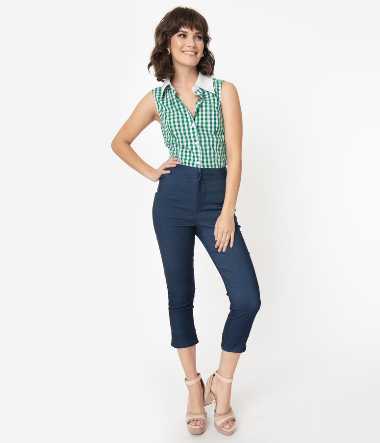 Smak Parlour Blue Denim Cuffed Smarty Pants Capri