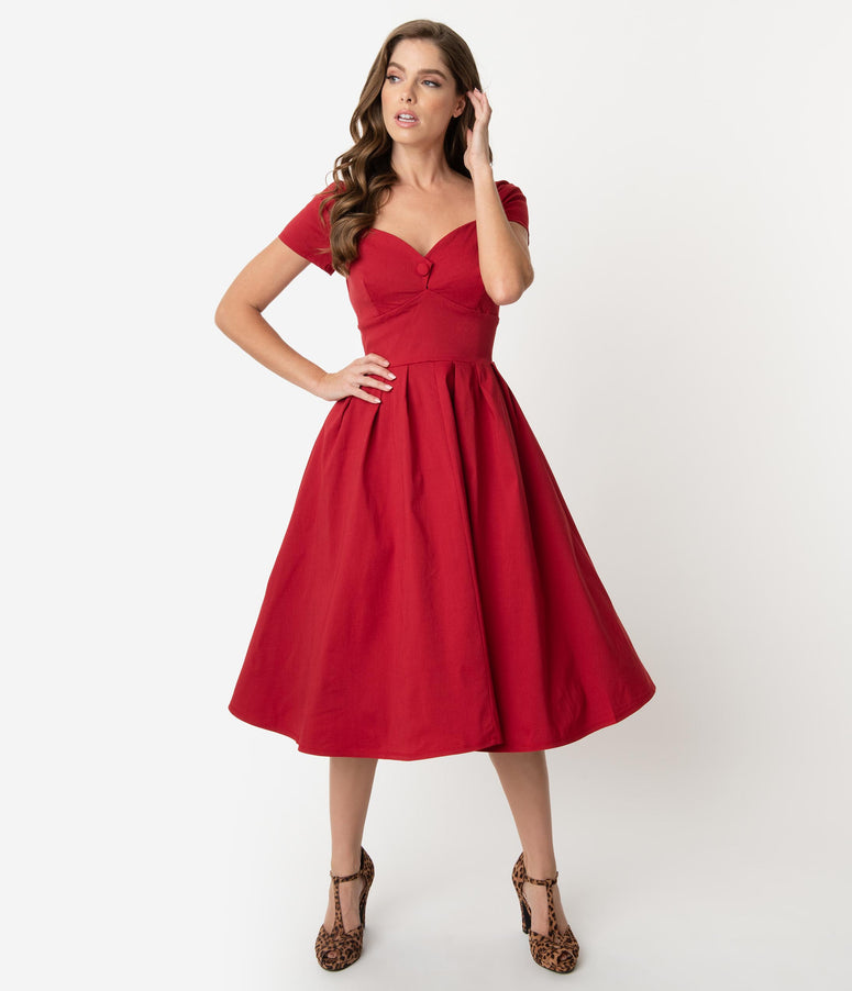 Unique Vintage 1950s Red Sweetheart Midge Swing Dress
