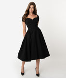 Unique Vintage 1950s Black Sweetheart Midge Swing Dress