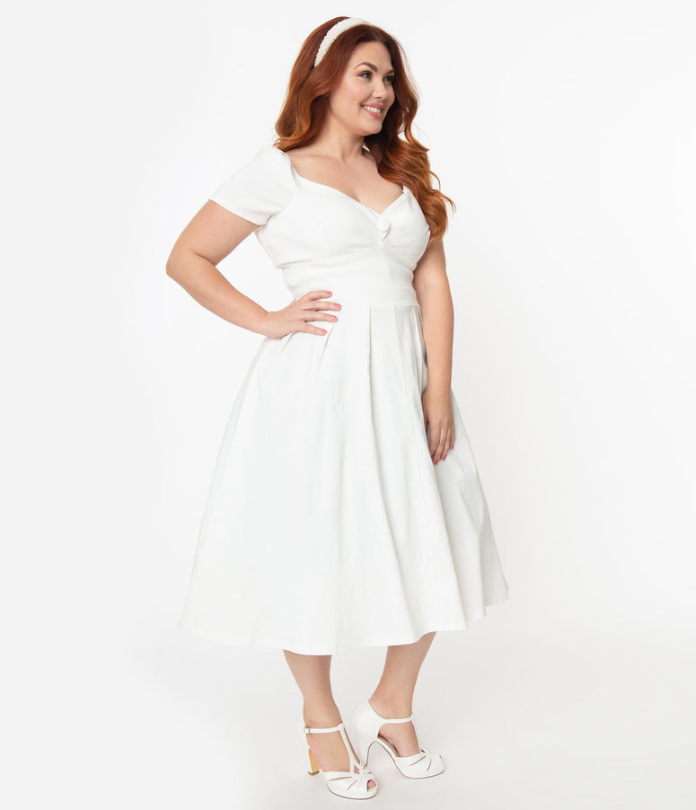 Unique Vintage Plus Size 1950s Ivory Sweetheart Midge Swing Dress