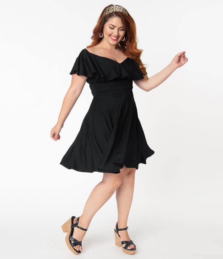 Unique Vintage Plus Size Black Off Shoulder Ruffle Gidget Fit & Flare Dress