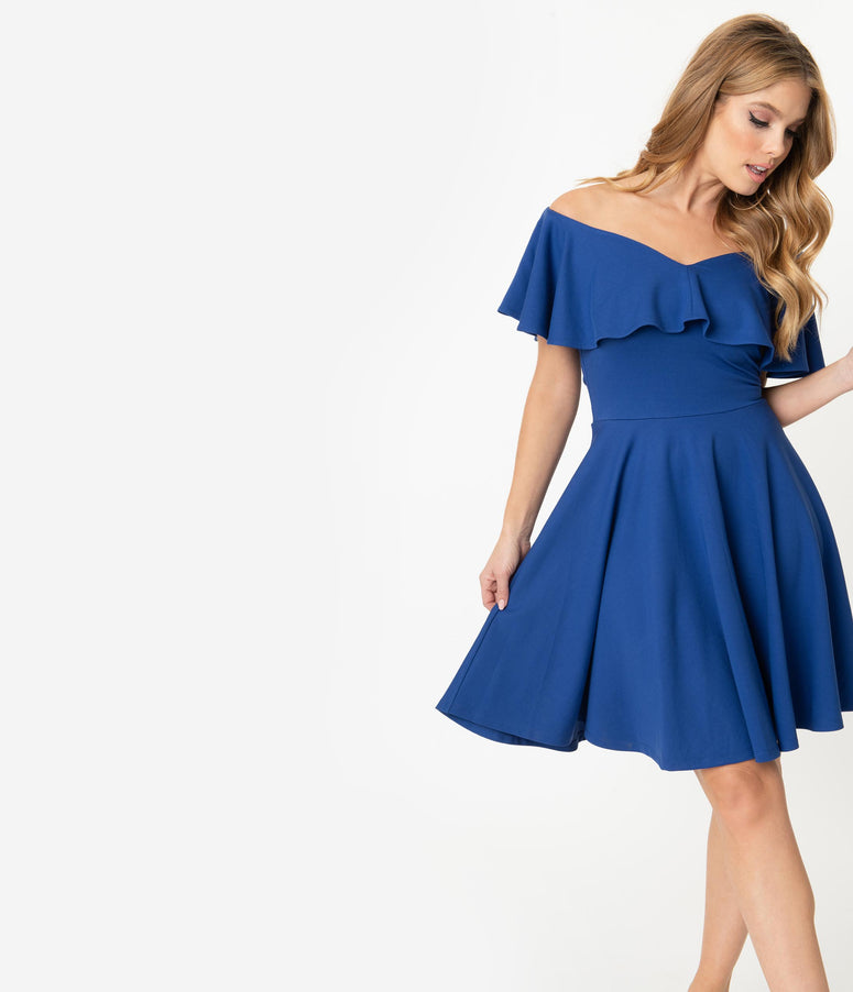 Unique Vintage Royal Blue Off Shoulder Ruffle Gidget Fit & Flare Dress