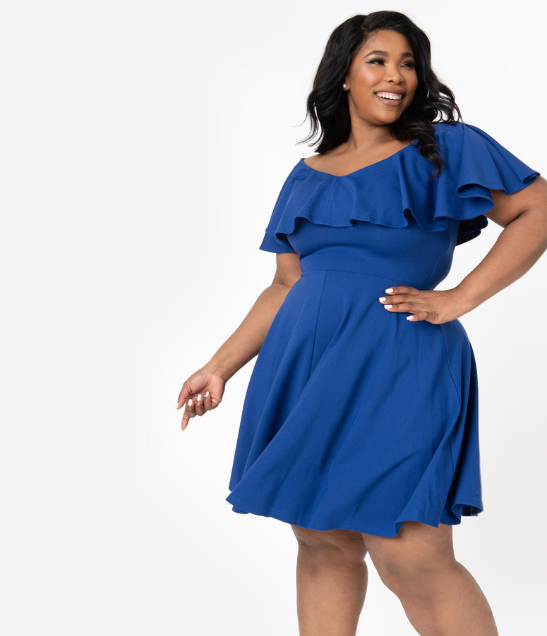 Unique Vintage Plus Size Royal Blue Gidget Fit & Flare Dress