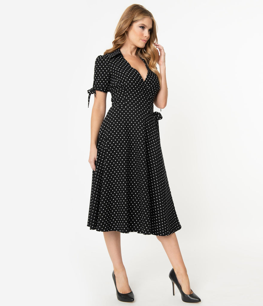 Unique Vintage Retro Black & White Pin Dot Bianca Wrap Dress
