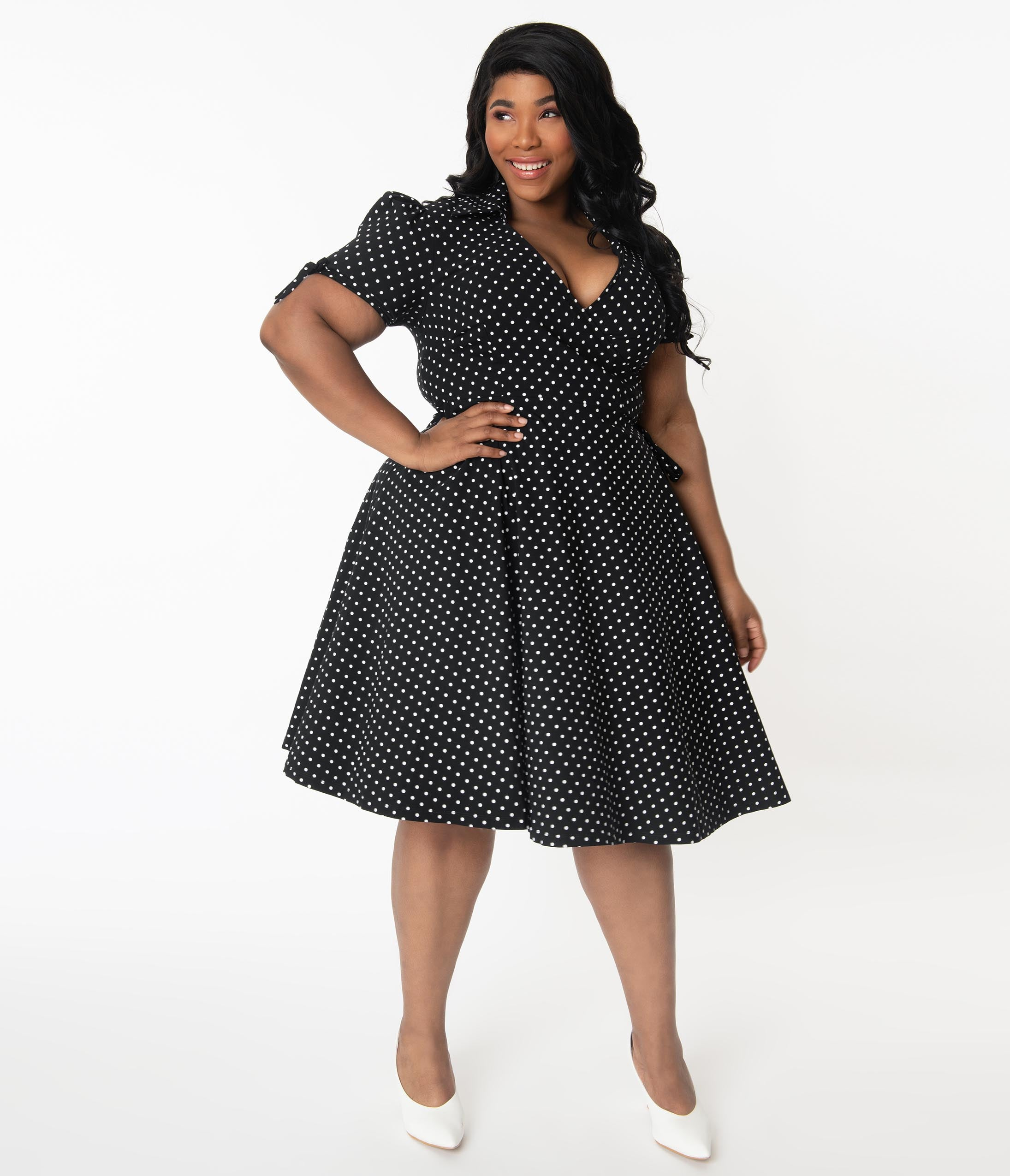 1950s Plus Size Dresses, Swing Dresses Unique Vintage Plus Size Retro Black  White Pin Dot Bianca Wrap Dress $88.00 AT vintagedancer.com