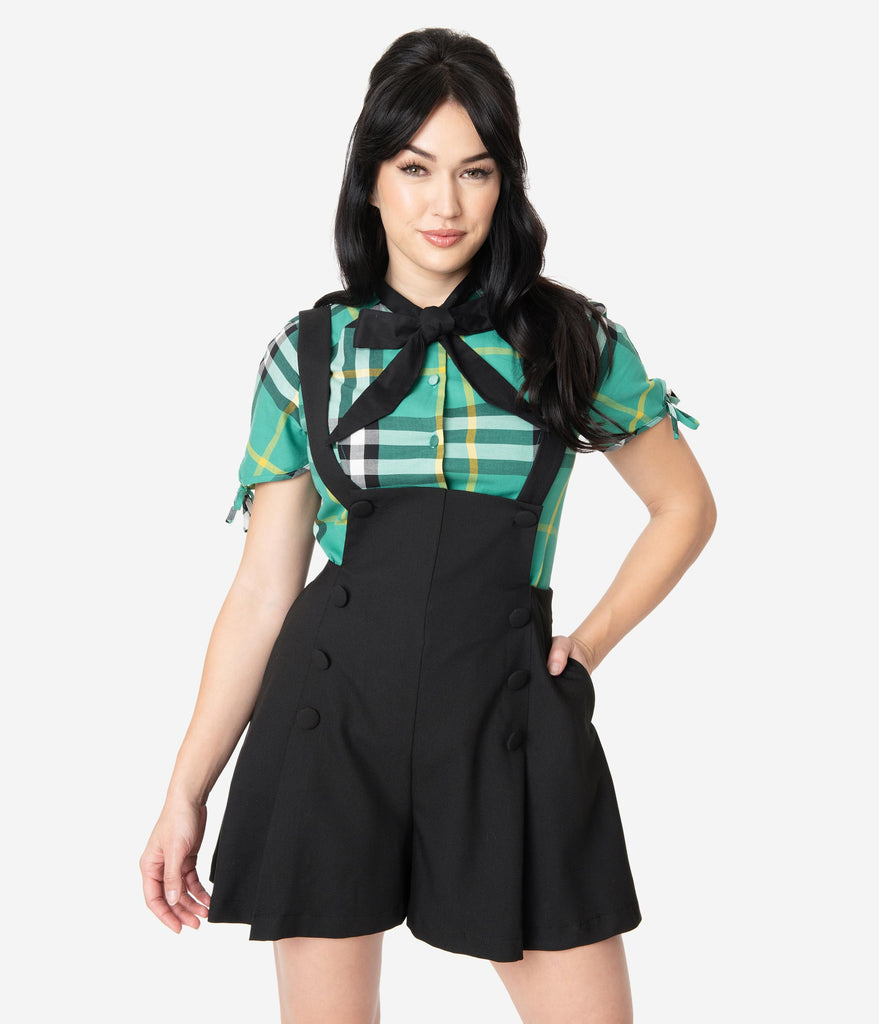 Unique Vintage 1970s Style Black Pleated Geena Pinafore Shorts