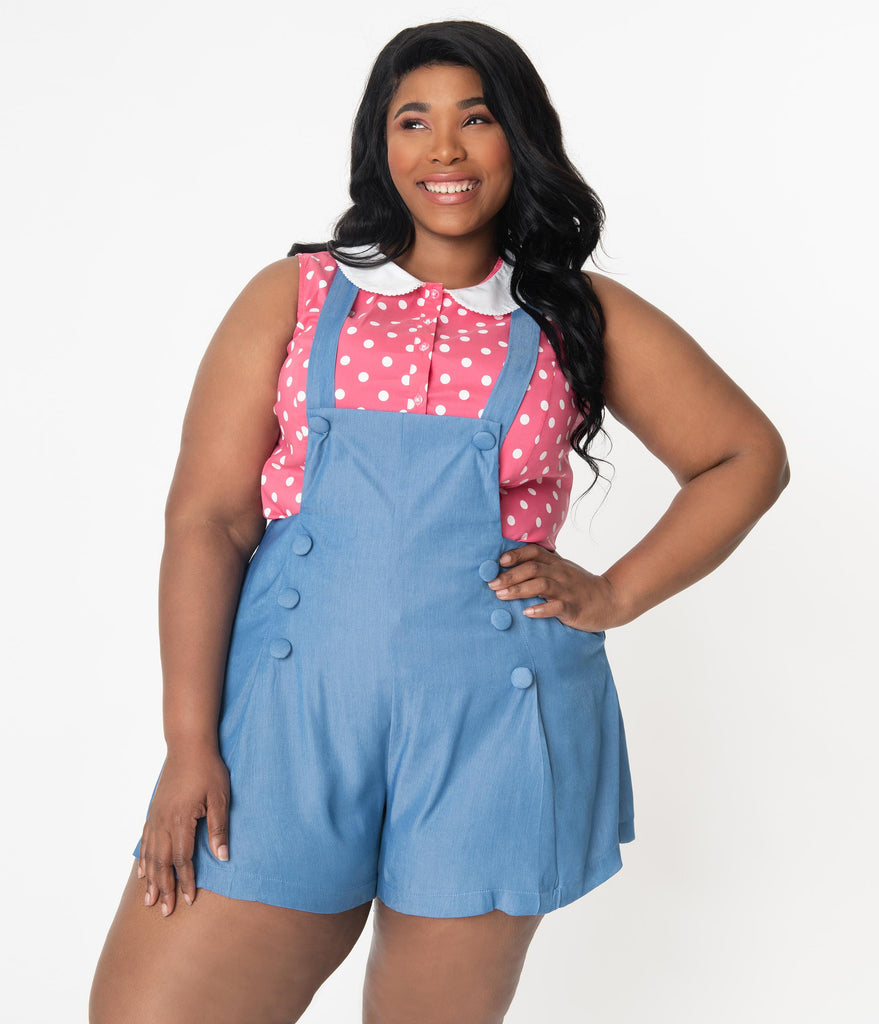 Unique Vintage Plus Size 1970s Chambray Blue Geena Pinafore Shorts