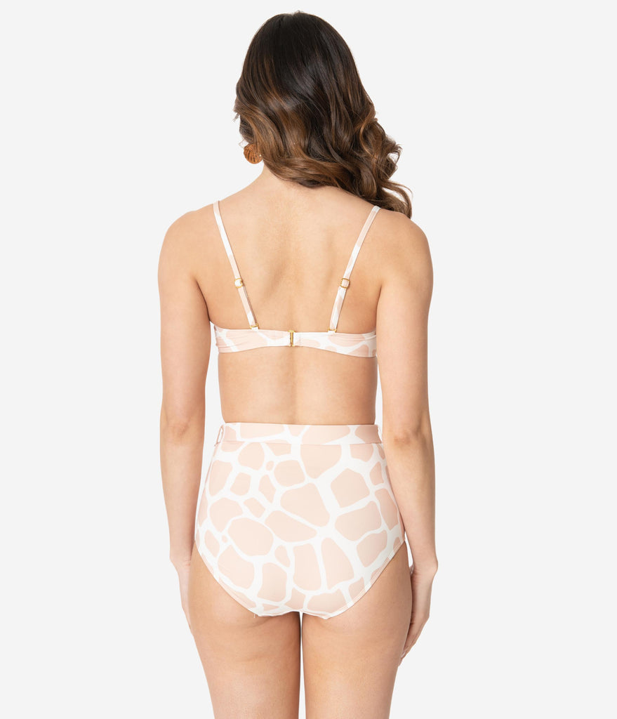Kingdom & State Beige & White Giraffe Print Swim Top