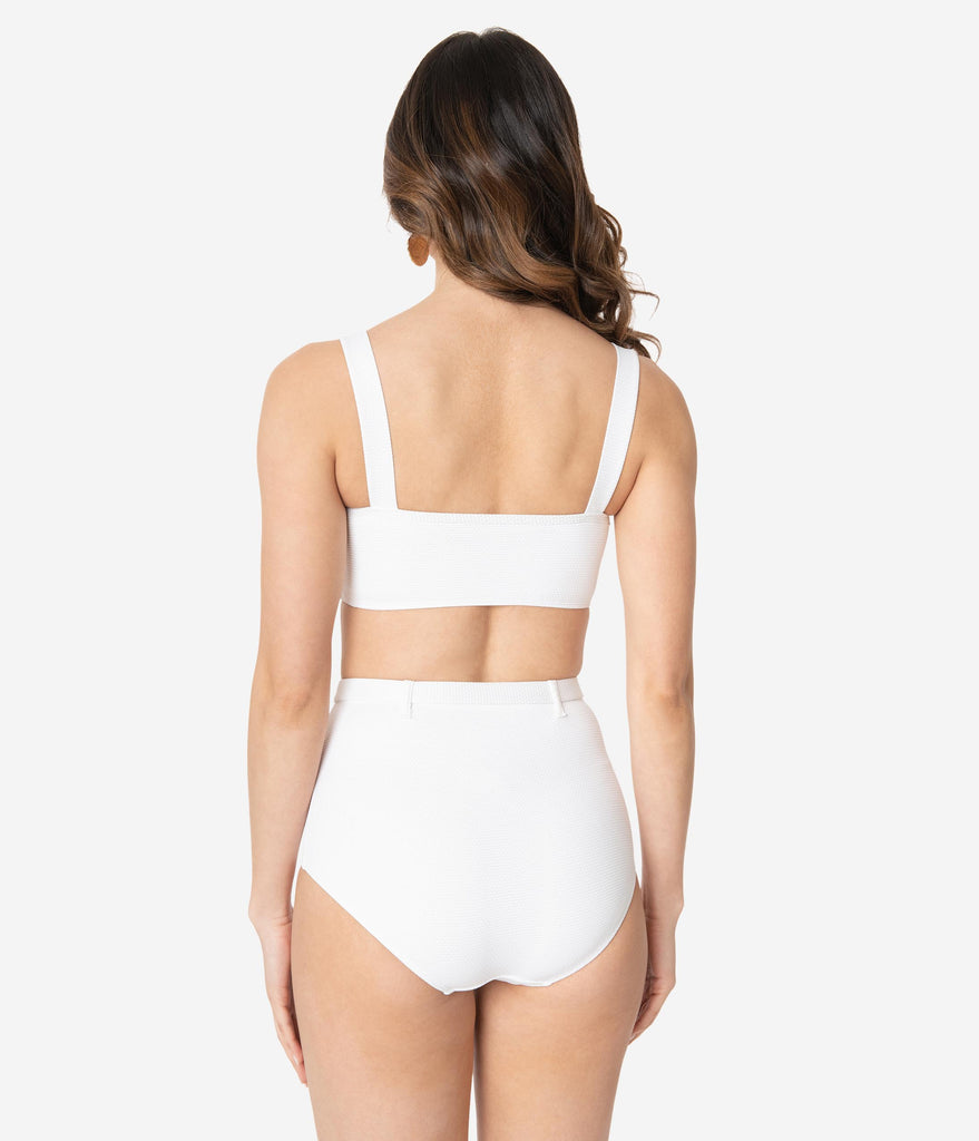 Kingdom & State 1970s White Texture Belted Swim Bottoms
