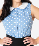 Unique Vintage Light Blue & White Polka Dot Tuscadero Top
