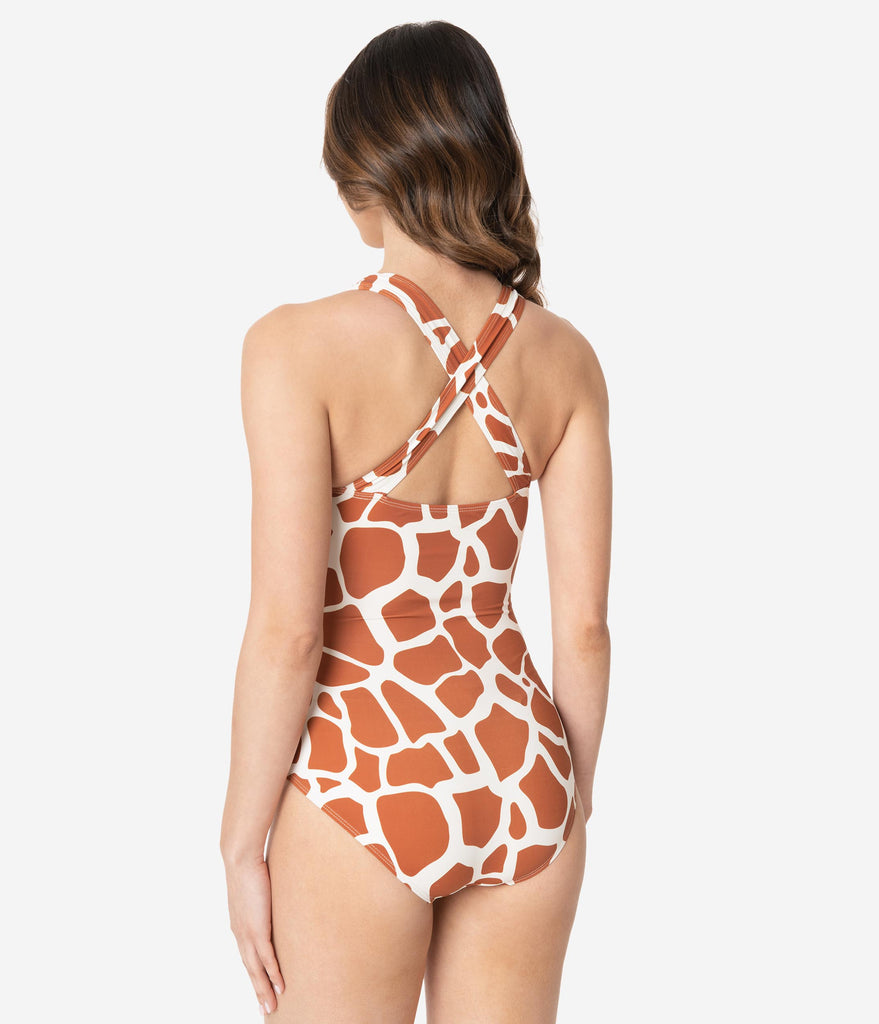 Kingdom & State Brown & White Giraffe Print One Piece Swimsuit