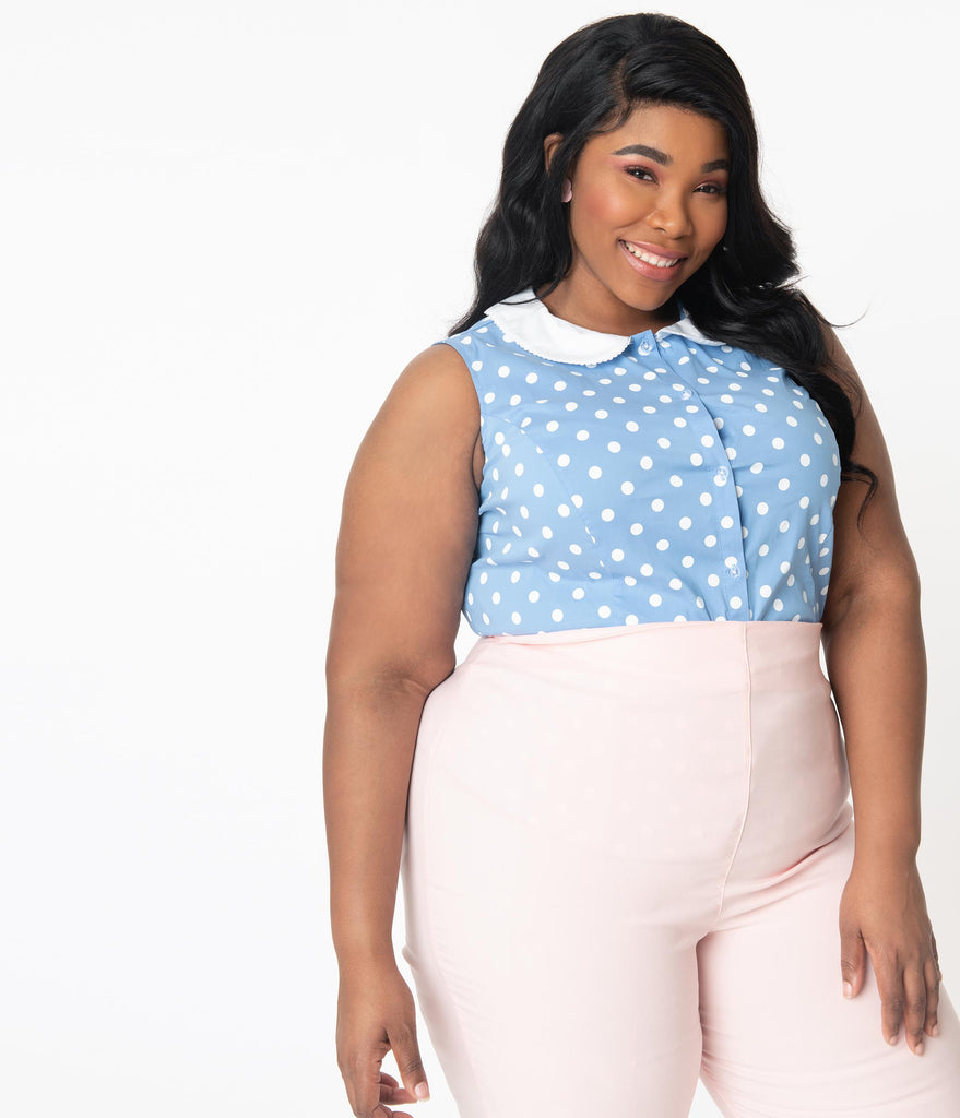 Unique Vintage Plus Size Light Blue & White Polka Dot Tuscadero Top