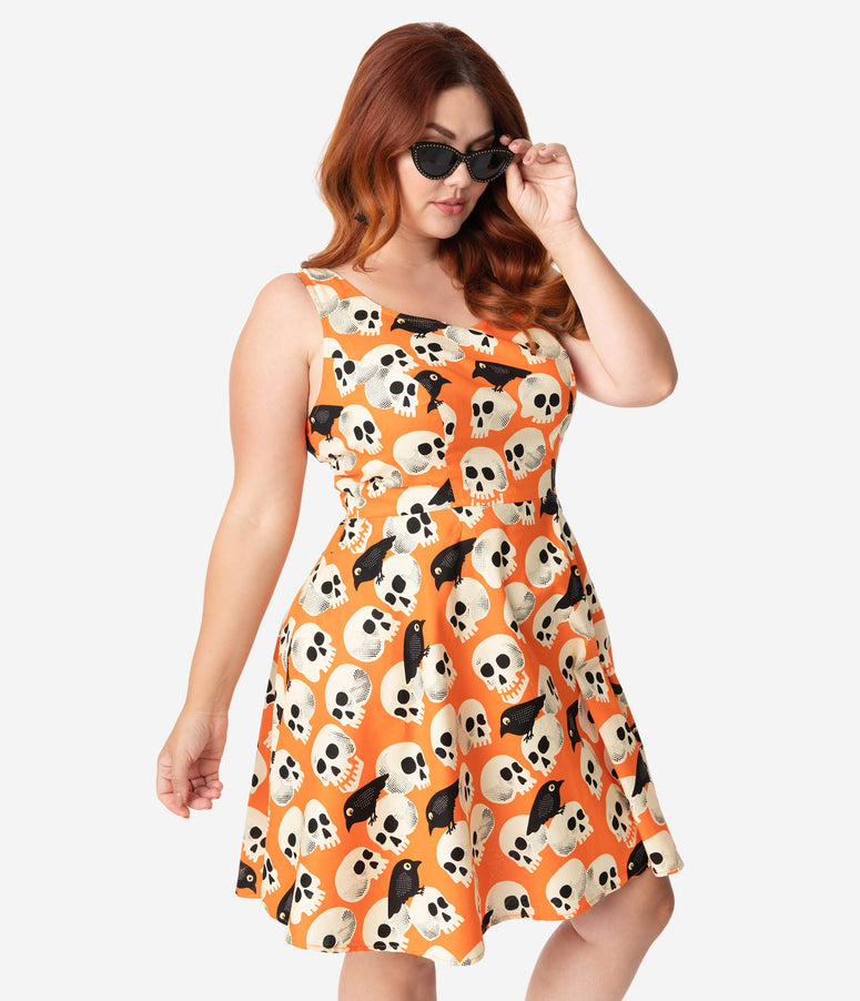 Retrolicious Plus Size Orange Skull & Birds Print Sleeveless Fit & Flare Dress