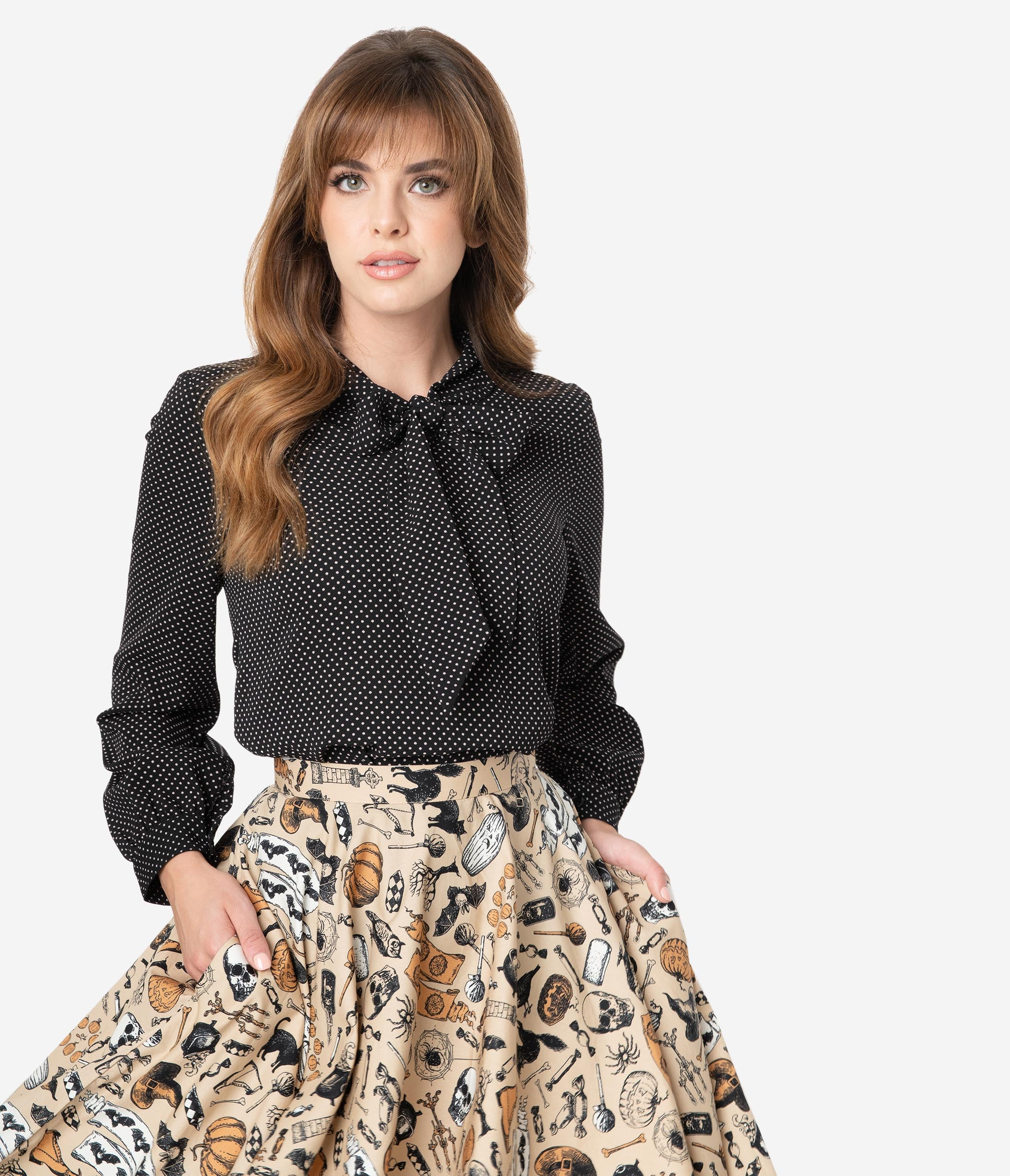 1930s Style Blouses, Shirts, Tops | Vintage Blouses Retrolicious Black  White Pin Dot Bow Tie Long Sleeve Blouse $48.00 AT vintagedancer.com