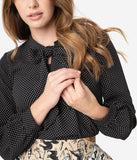 Retrolicious Black & White Pin Dot Bow Tie Long Sleeve Blouse