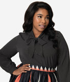 Retrolicious Plus Size Black & White Pin Dot Bow Tie Long Sleeve Blouse