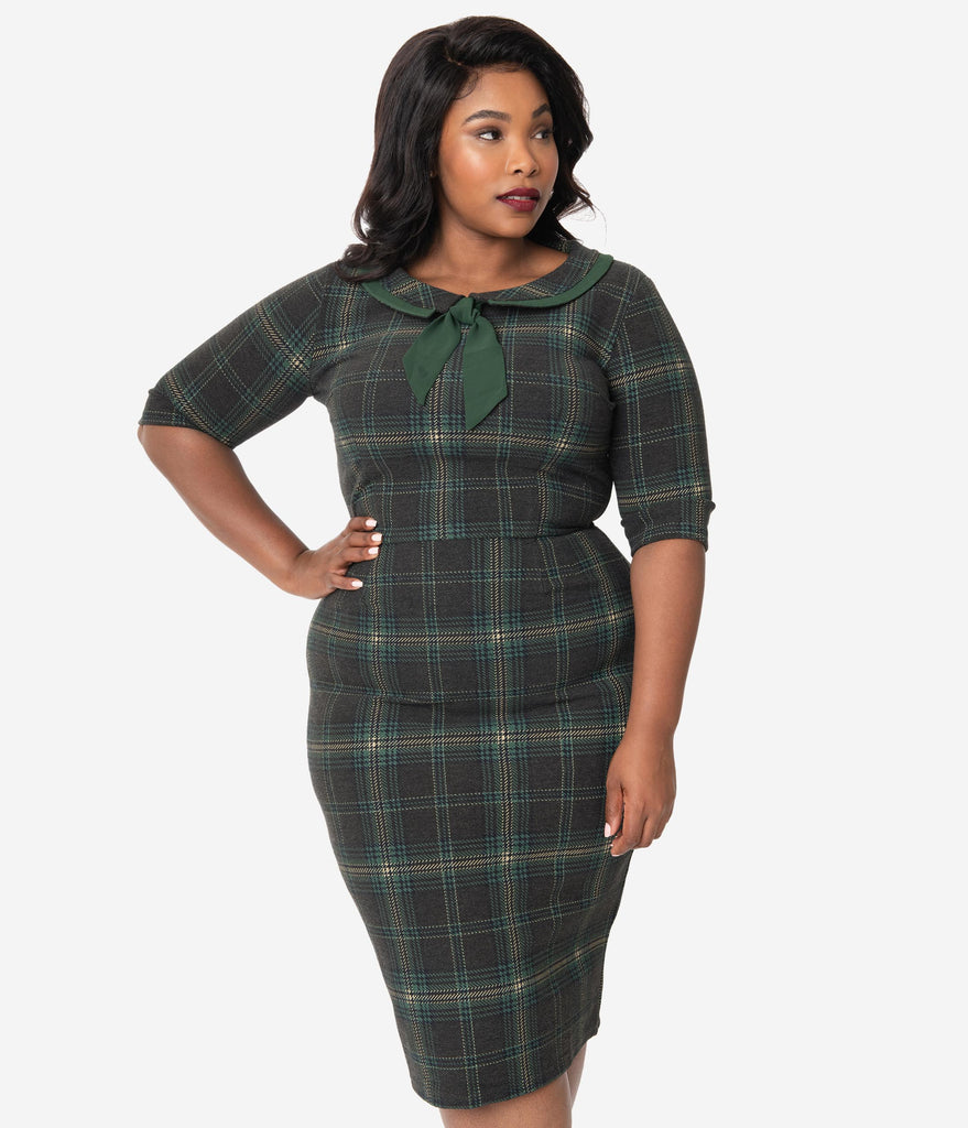 Plus Size 1960s Grey & Green Plaid Catherine Wiggle Dress