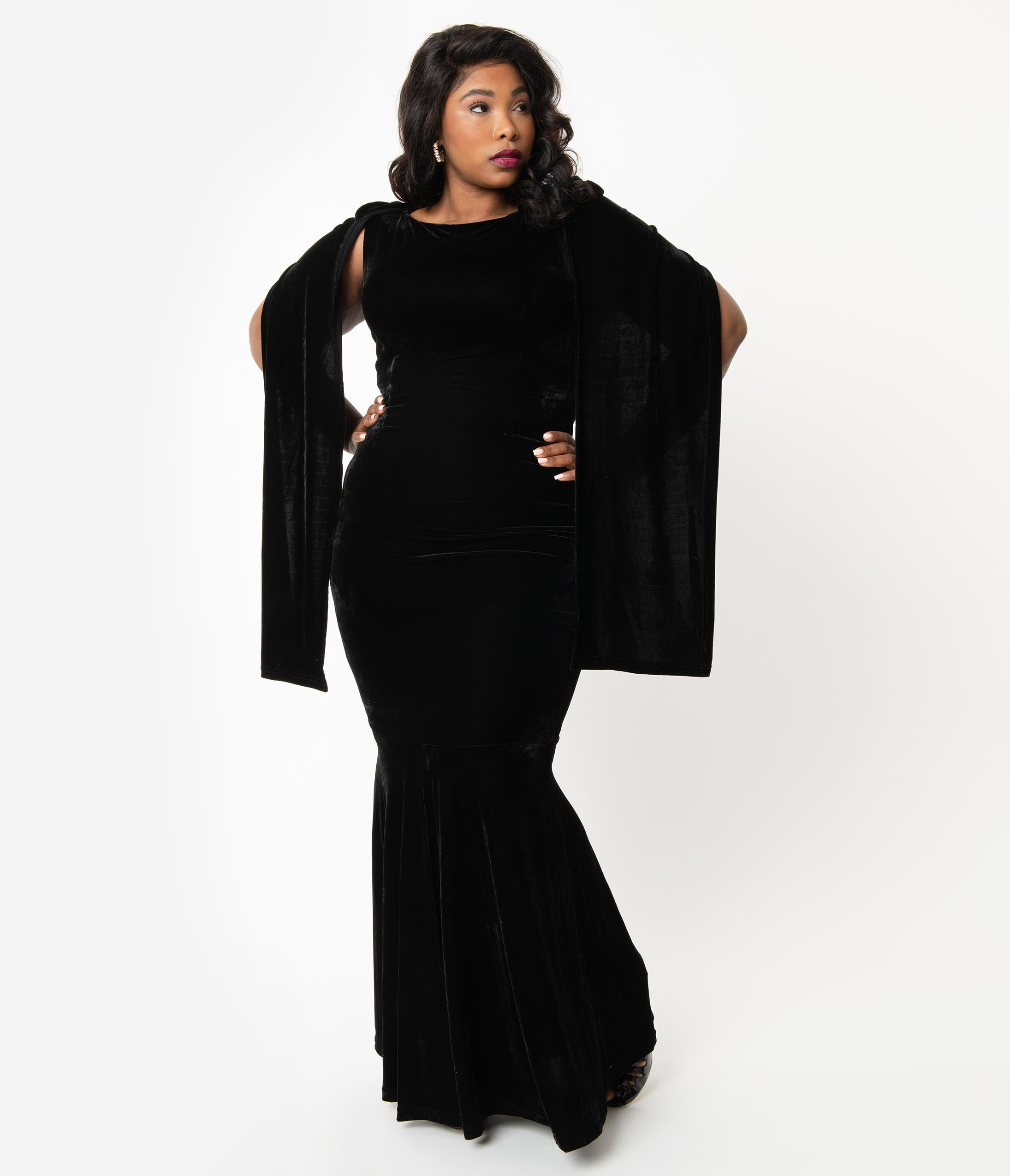 60s 70s Plus Size Dresses, Clothing, Costumes Plus Size Vintage Style Black Velvet Nightshade Hooded Gown $174.00 AT vintagedancer.com