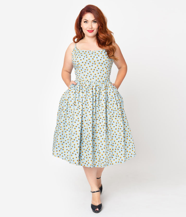 Plus Size 1950s Style Light Blue Candy Corn Print Swing Dress