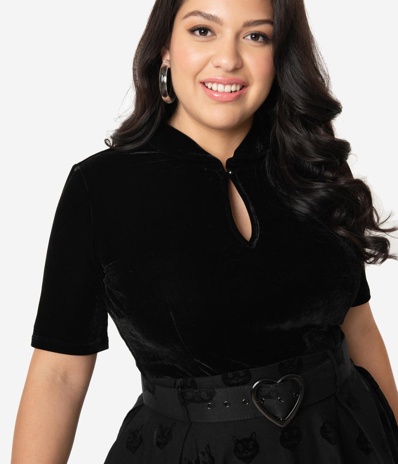 Plus Size Retro Style Black Velvet Stretch Short Sleeve Keynote Top