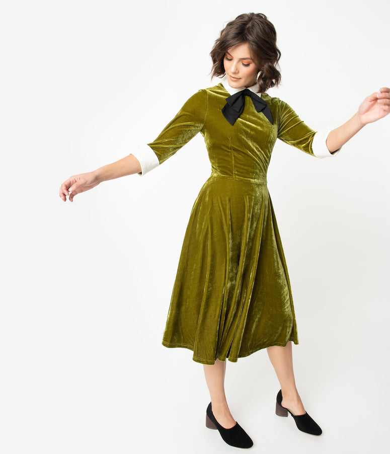 1960s Style Moss Green Velvet Neck Tie Midi Mod Dress