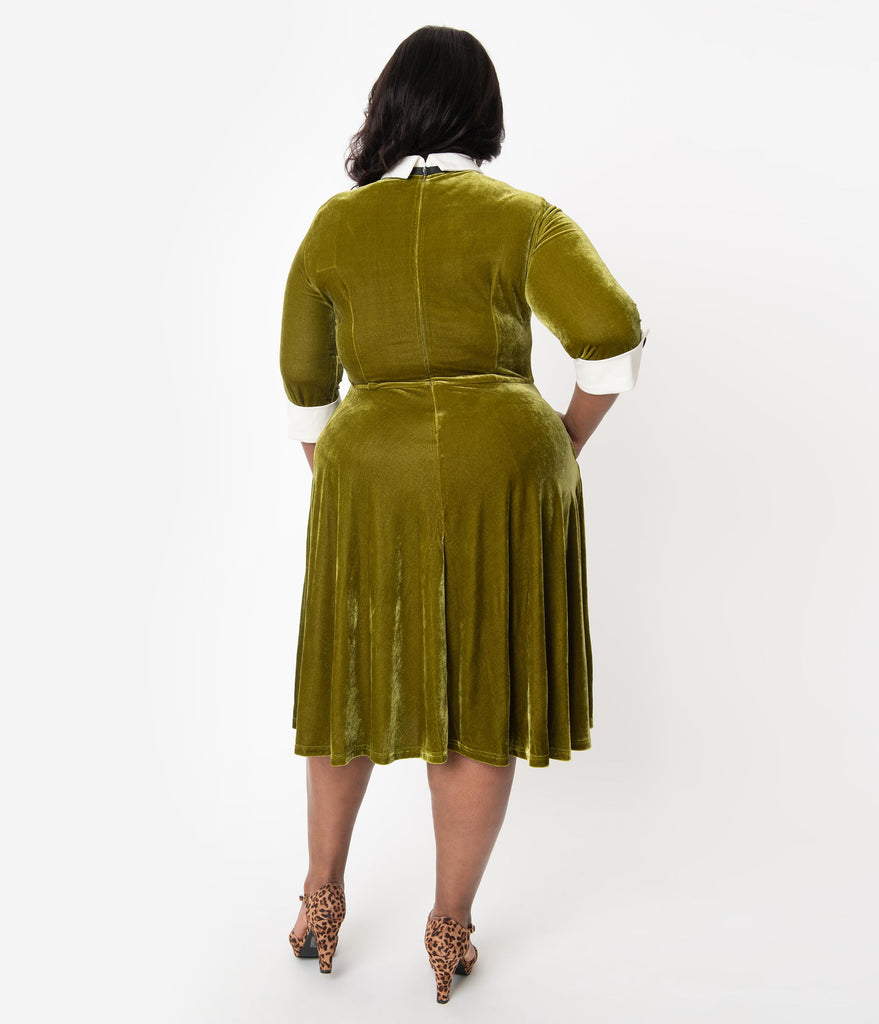 Plus Size 1960s Style Moss Green Velvet Neck Tie Midi Mod Dress