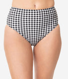 Pin-Up Style Black & White Gingham Swim Bottom