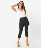Unique Vintage Black & White Pin Dot Rachelle Capri Pants