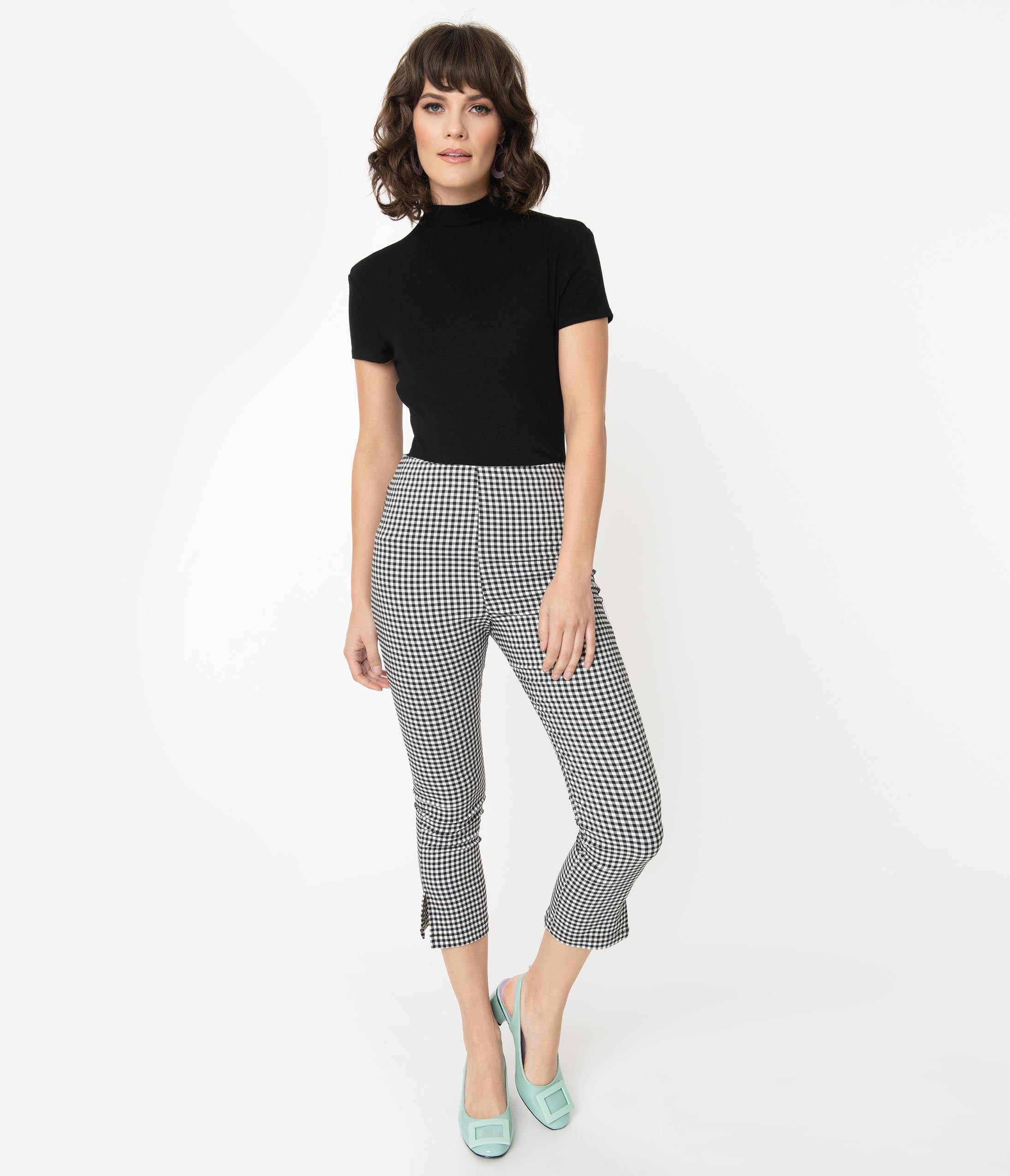 1950s Pants History for Women Unique Vintage Black  White Gingham Rachelle Capri Pants $58.00 AT vintagedancer.com