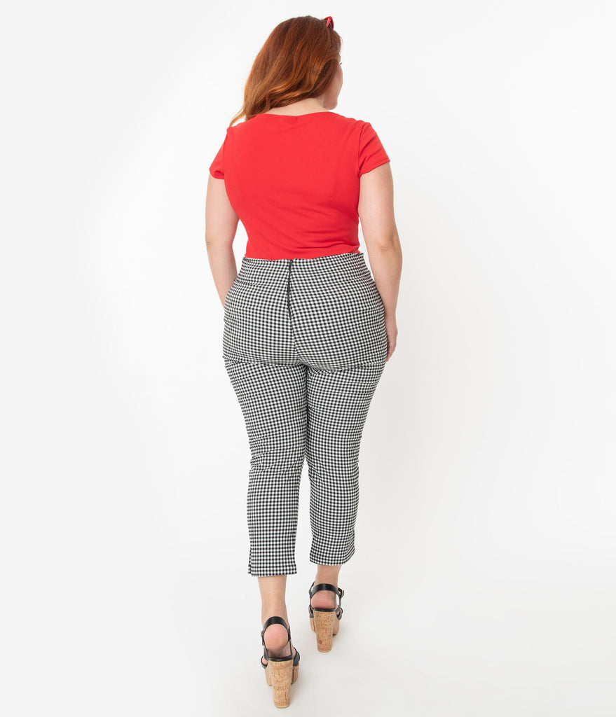 Unique Vintage Plus Size Black & White Gingham Rachelle Capri Pants