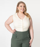 Unique Vintage Plus Size Cream Sleeveless Button Up Polly Blouse