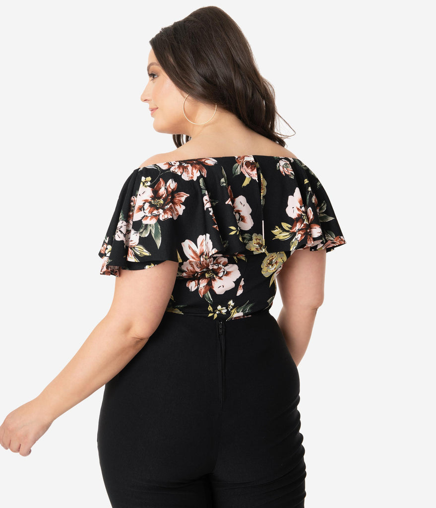 Unique Vintage Plus Size 1950s Black Floral Ruffle Frenchie Top