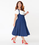 Unique Vintage Plus Size 1950s Blue Anchor Print Amma Suspender Swing Skirt
