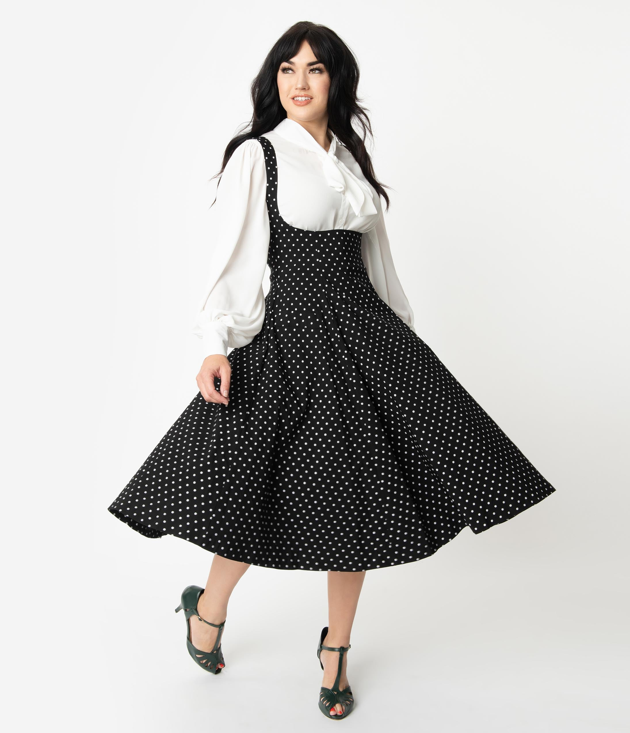 1940s Teenage Fashion: Girls Unique Vintage 1950S Black  White Pin Dot Amma Suspender Swing Skirt $88.00 AT vintagedancer.com