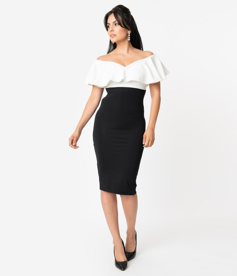 Unique Vintage Black & White Colorblock Ruffle Lilith Wiggle Dress